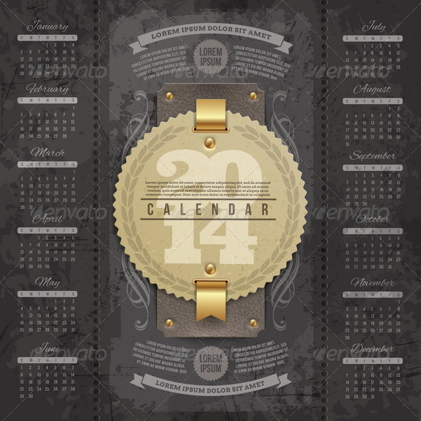 GraphicRiver Calendar of 2014 with Vintage Labels 5440465
