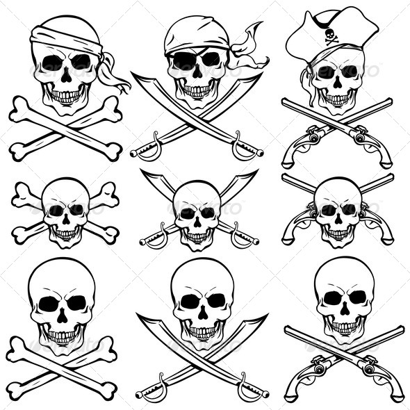 GraphicRiver Vector Set of Pirate Skulls 5440733