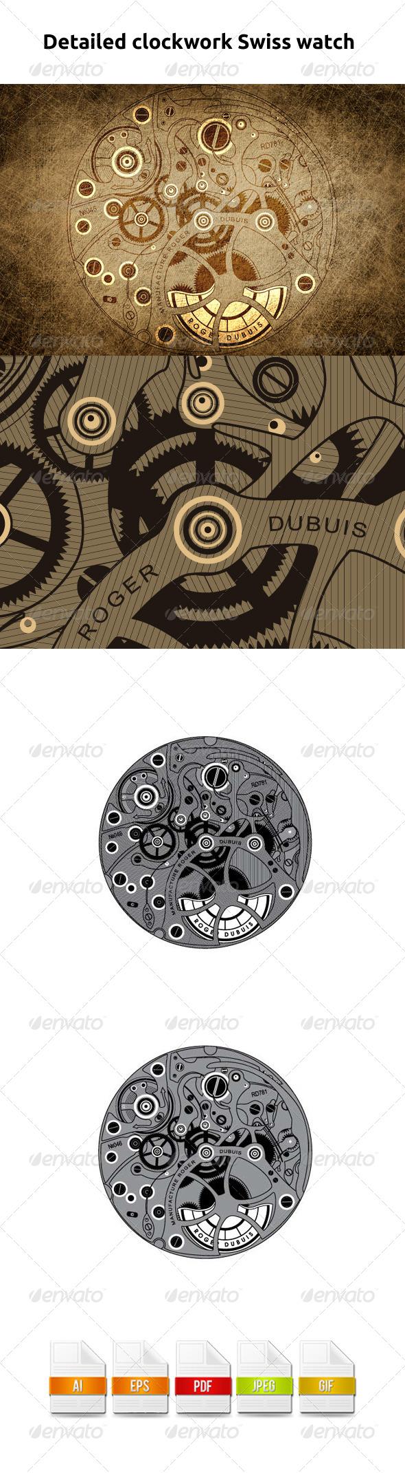 GraphicRiver Detailed clockwork Swiss watch 5440911
