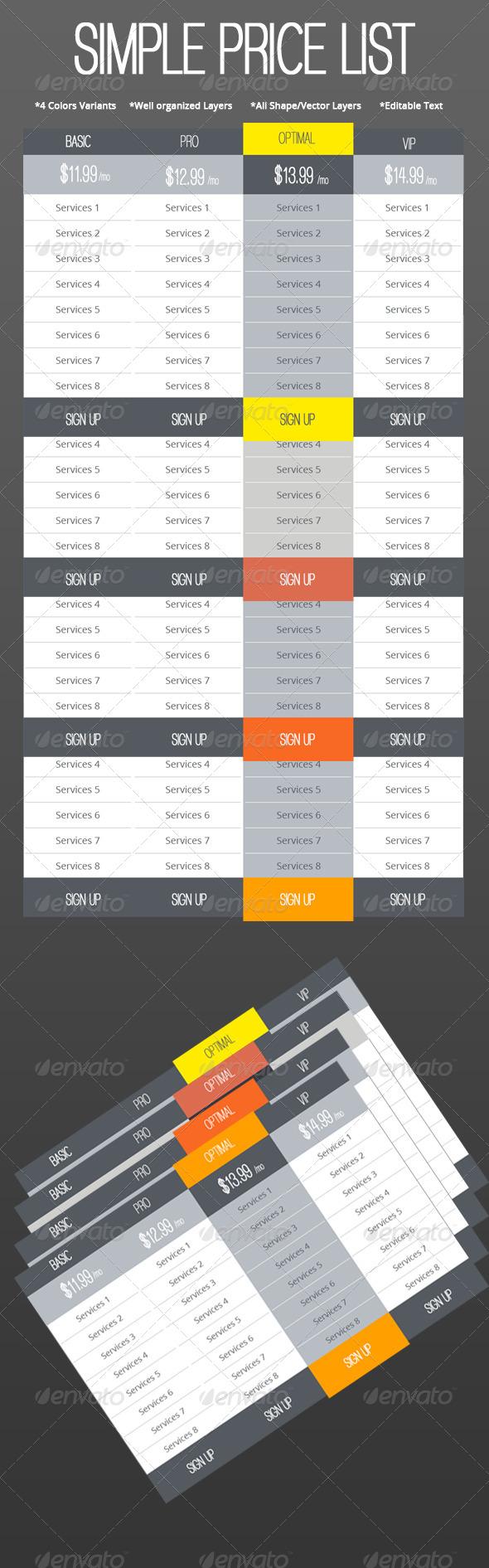 GraphicRiver Simple Web Price List Set 5441477