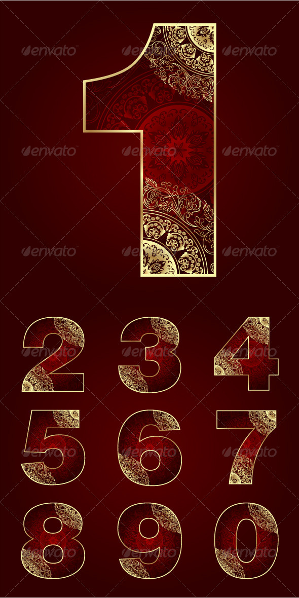 GraphicRiver Vintage Numbers Set with Floral Swirls 5441480
