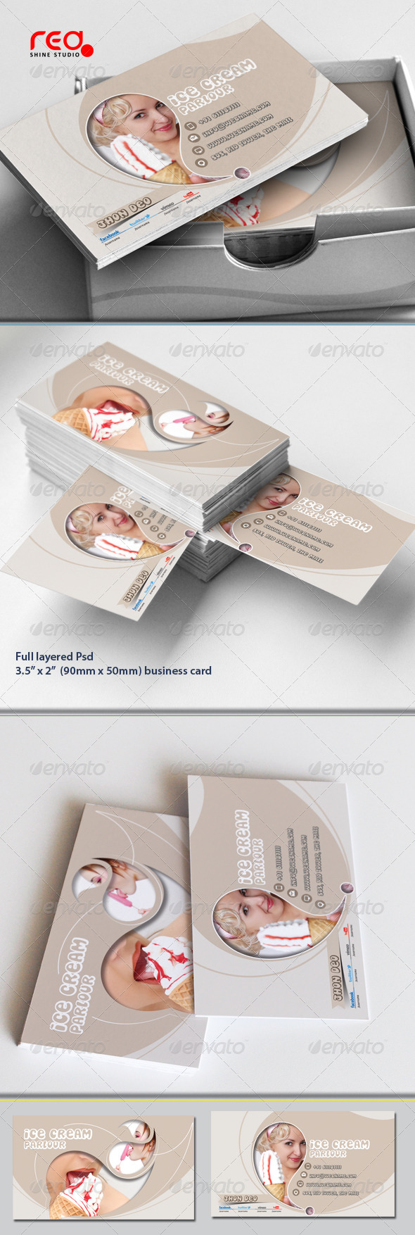 GraphicRiver Ice Cream Store Business Card Set 5378389