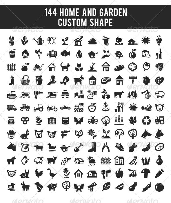 GraphicRiver 144 Home and Garden Custom Shape 5435519