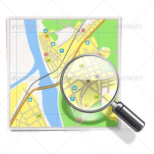 GraphicRiver Vector Map with Lens 5442104