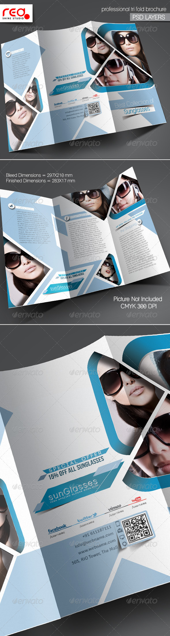 GraphicRiver SunGlasses Fashion Store Trifold Brochure Template 5442105