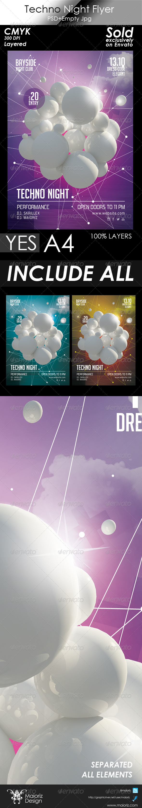 Techno Night Flyer Template - Clubs & Parties Events