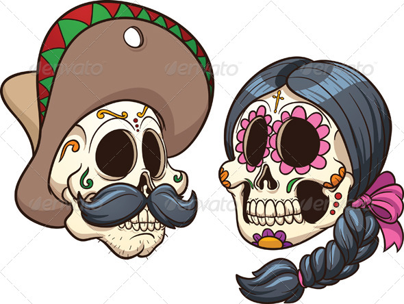 GraphicRiver Mexican Skulls 5443359