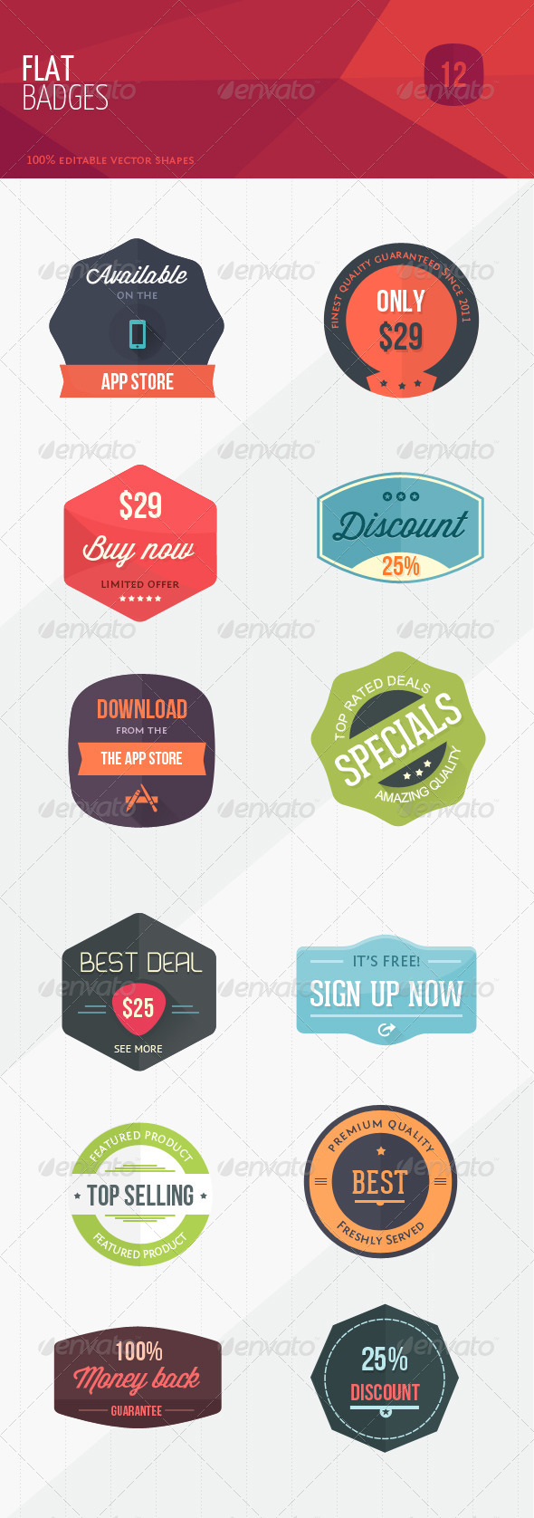 GraphicRiver 12 Flat Sweet Marketing Badges 5435604
