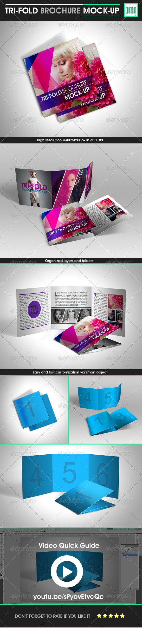GraphicRiver Tri-Fold Brochure Mock-up 5443749