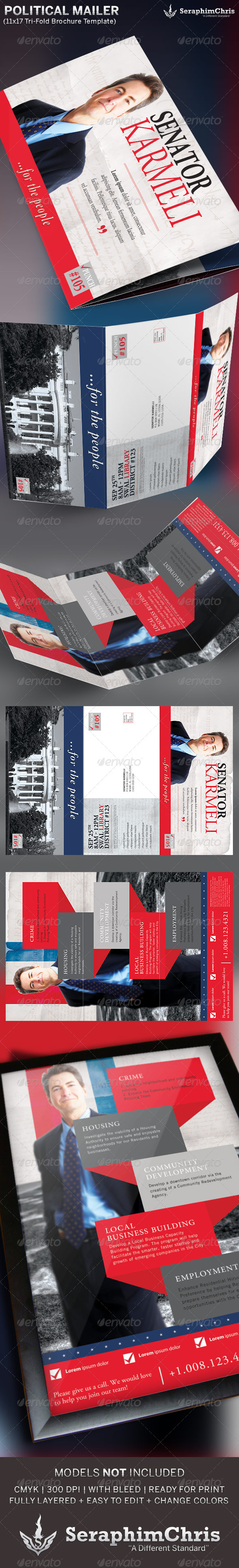 Large political tri fold brochure mailer template for Political brochure templates