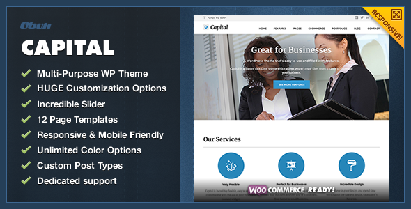 Following the great success of our Dynamo and Flatpack WordPress themes, we unveil out latest multi-purpose theme for corporates called, Capital. Capital is a