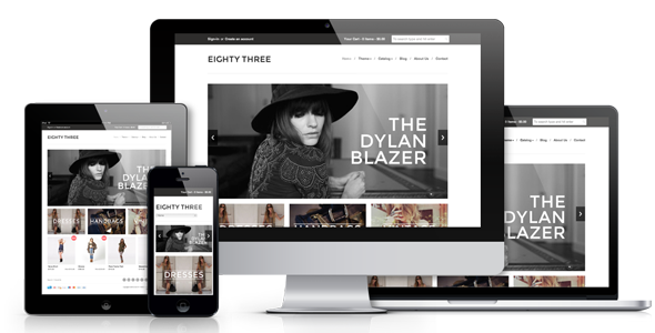 Eighty Three – Responsive Shopify Theme Eighty Three has a beautiful minimal design, and is a fully Responsive Shopify theme.  It