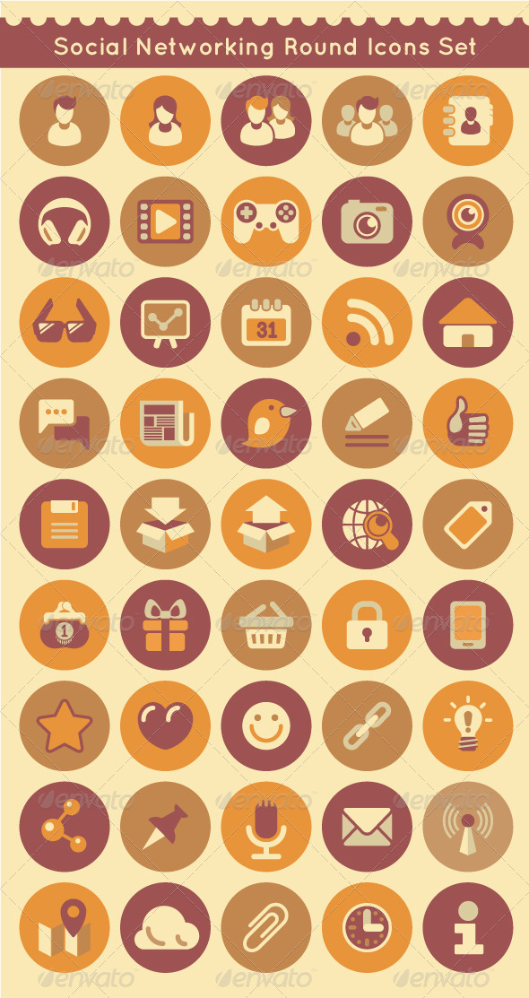 GraphicRiver Social Networking Round Icons Set 5444523