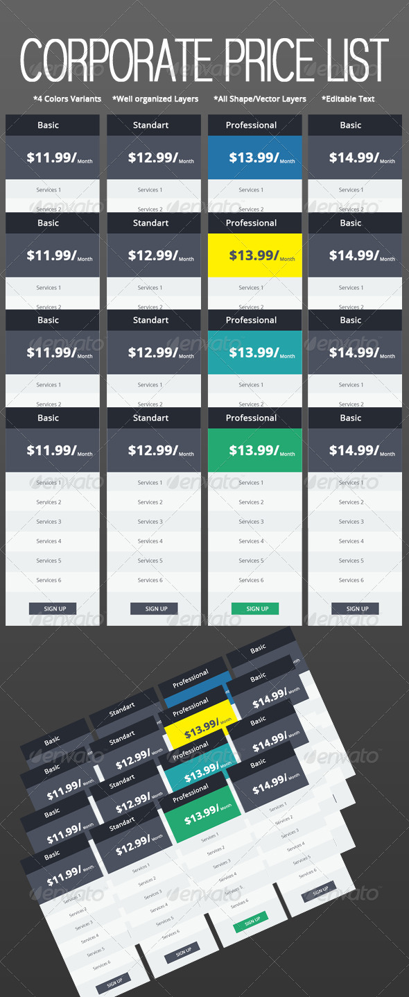 GraphicRiver Corporate Web Price List Set 5444679