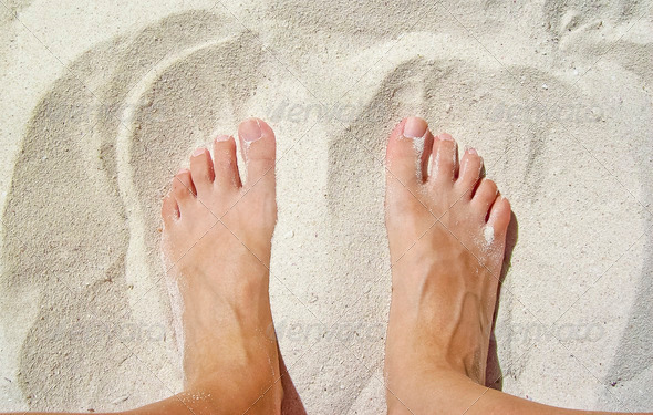 Feet in the Sand - Stock Photo - Images
