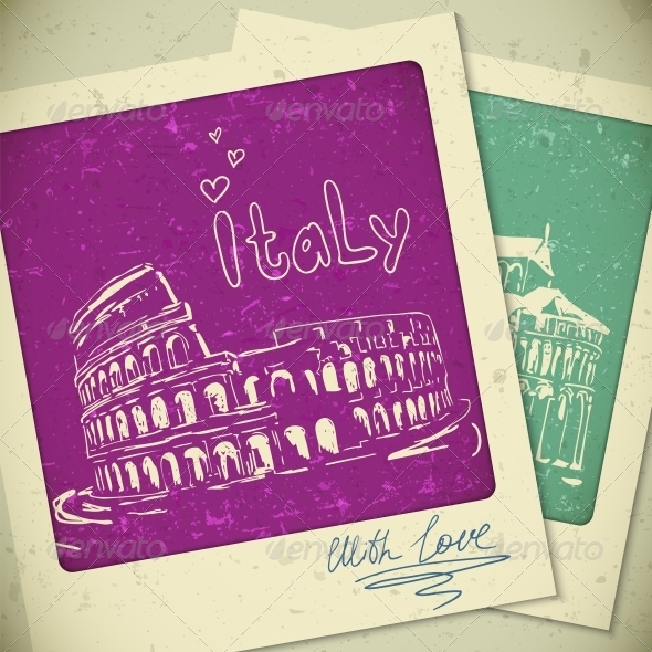 GraphicRiver Italy Hand Drawn Landscape in Vintage Style 5445248