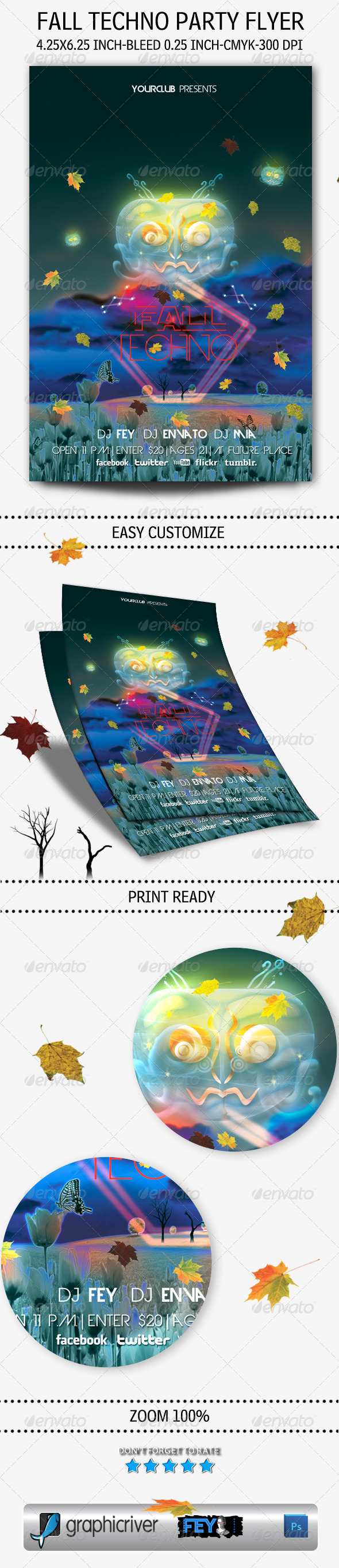 GraphicRiver Fall Techno Party Flyer 5429406