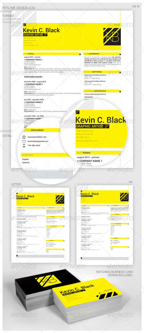 GraphicRiver Modern Resume w matching business card 5405883