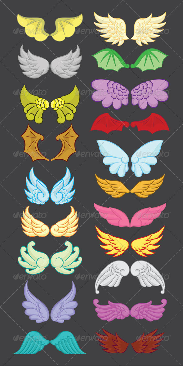 GraphicRiver Wings Cute Collection Part II 5445744