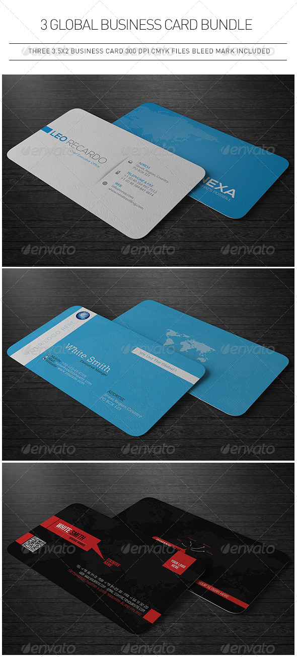 GraphicRiver 3 Global Business Cards Bundle 5445745