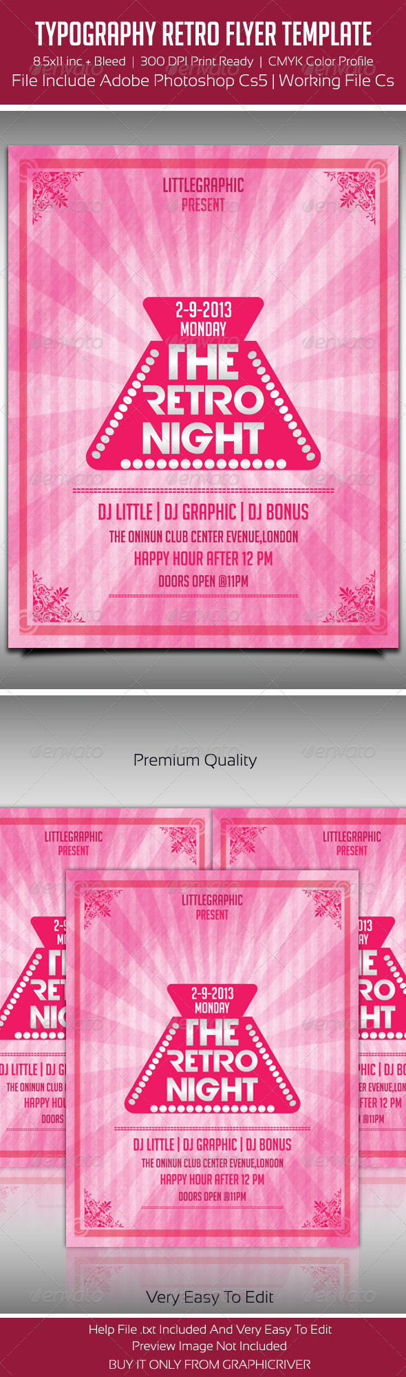 Typography Retro Party Flyer Template 2 - Flyers Print Templates