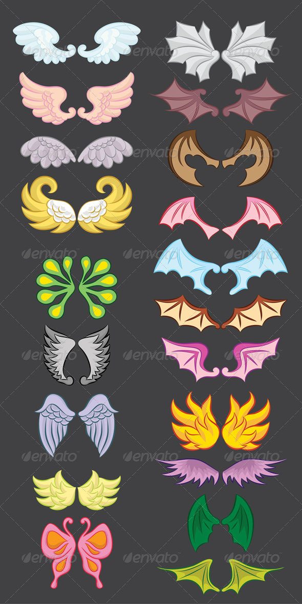 GraphicRiver Wings Cute Collection Part III 5445761