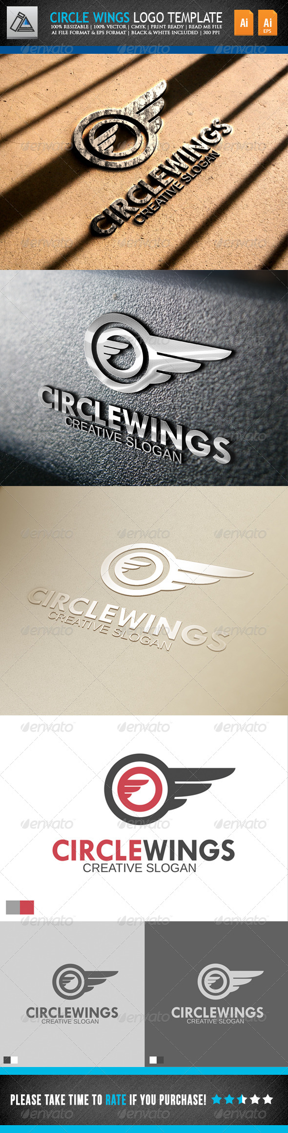 Circle Wings Logo Template - Objects Logo Templates
