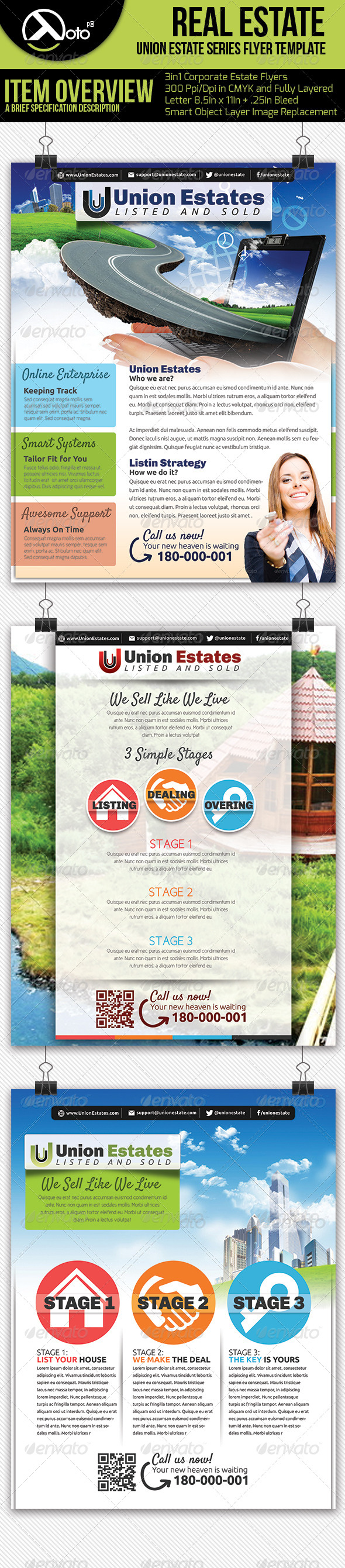 3 in 1 Real Estate Flyers - Flyers Print Templates