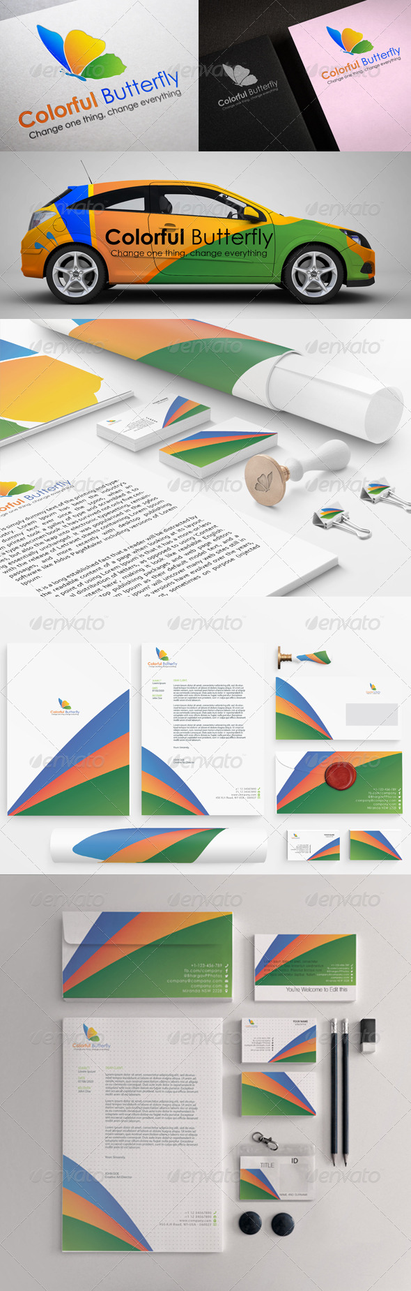 GraphicRiver Colorful Butterfly Stationary Printing Templates 5446386