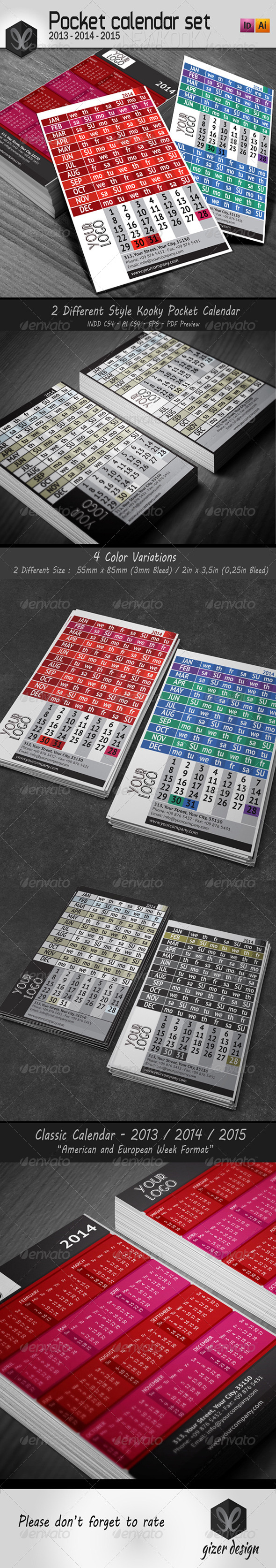 GraphicRiver Pocket Calendar 2014 2013 2015 Set New Kooky 5424890
