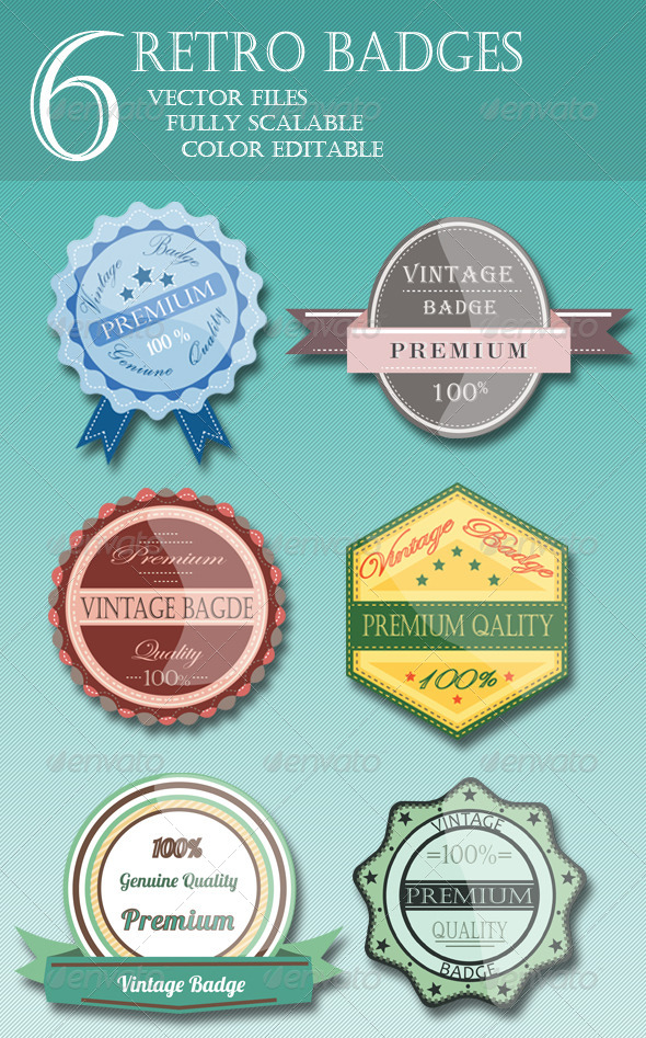 GraphicRiver 6 Retro Vintage Badges 5404669