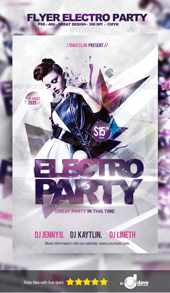 Flyer Electro Party Template - Clubs & Parties Events