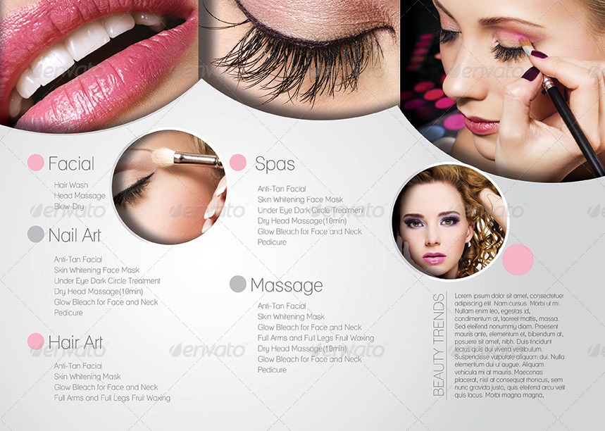 salon brochure templates - promotional salon trifold brochure template by