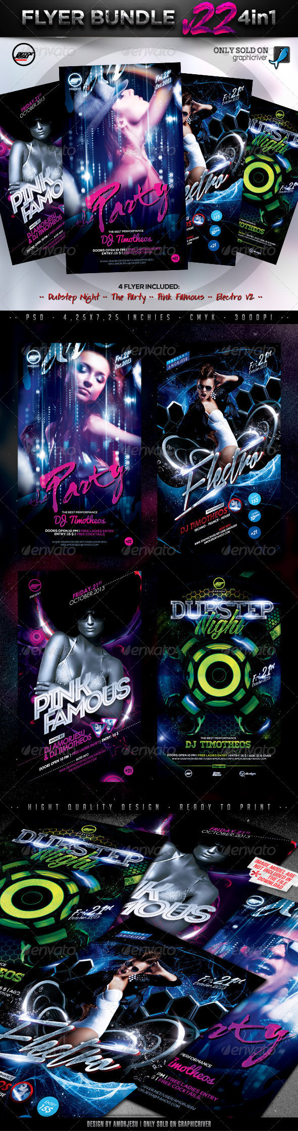 Flyer Bundle Vol22 - 4 in 1 - Clubs & Parties Events
