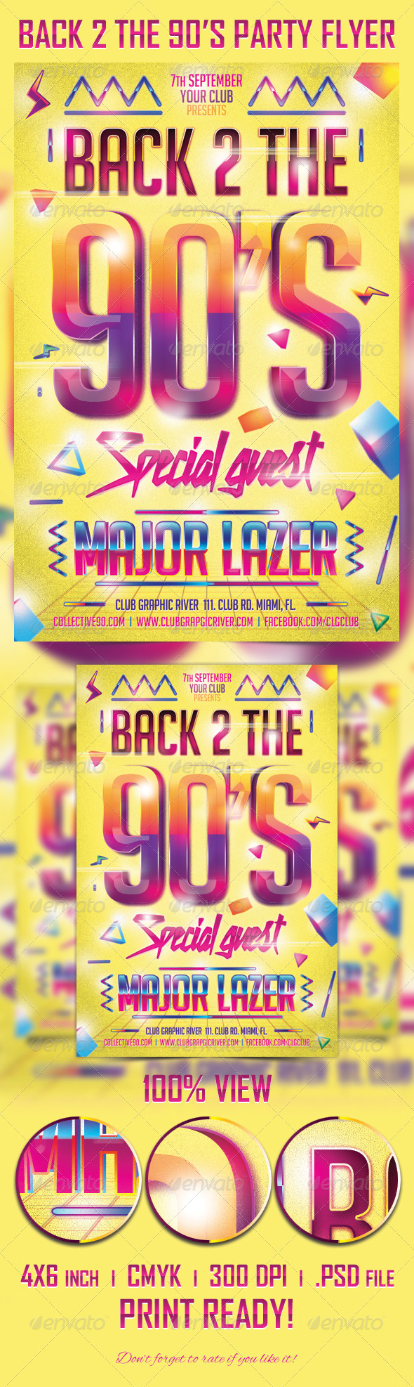 GraphicRiver Back 2 the 90 s Party Flyer Template 5447520