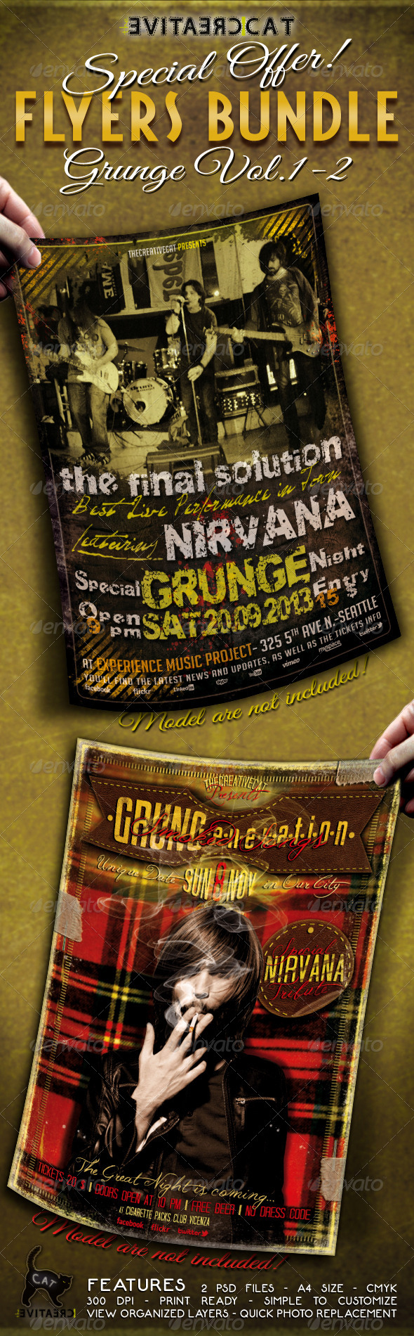 Grunge Flyer/Poster Bundle Vol. 1-2 - Events Flyers