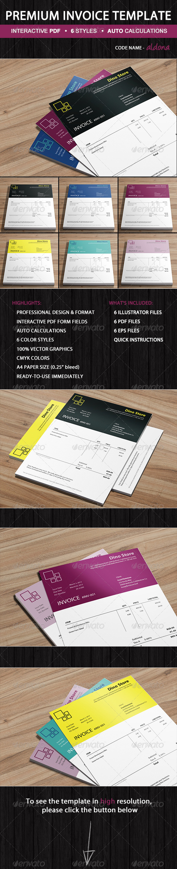 GraphicRiver Business Invoice Template Aldona Ready-to-Use 5447783