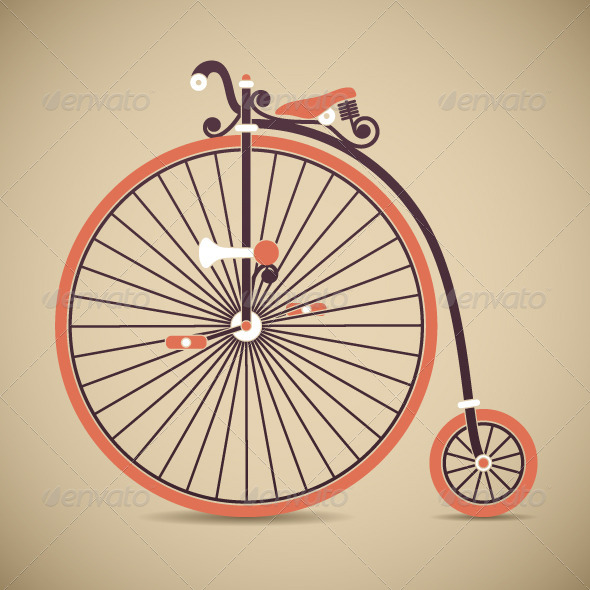 GraphicRiver Penny Farthing Antique Bicycle Vector 5448343