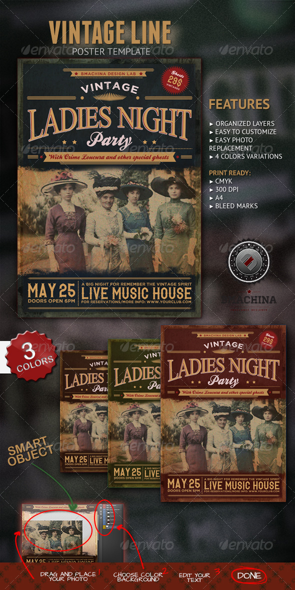 GraphicRiver Vintage Ladies Night Poster 5428526