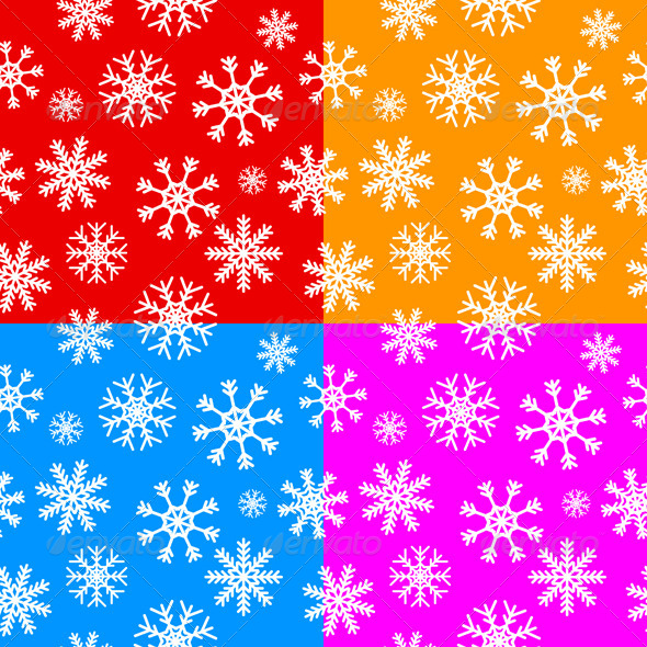 GraphicRiver White Snowflakes Set on Different Backgrounds 5448368