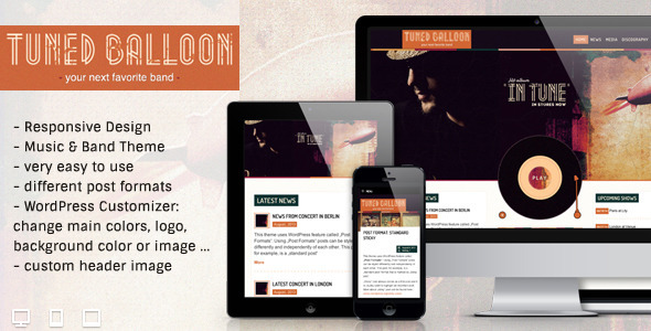 ThemeForest Tuned Balloon Music WordPress Theme 5448811