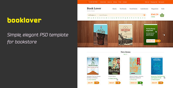 Booklover is PSD Template - Retail PSD Templates