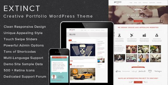 ThemeForest Extinct Creative Portfolio WordPress Theme 5449276