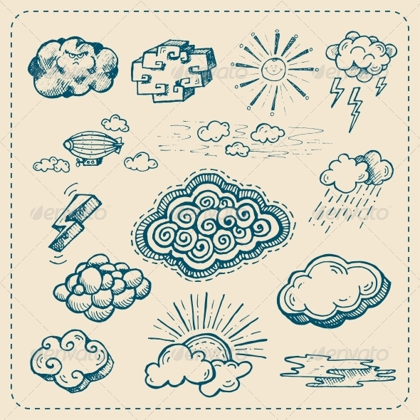 GraphicRiver Vector Collection of Hand Drawn Cloud Icons 5449741