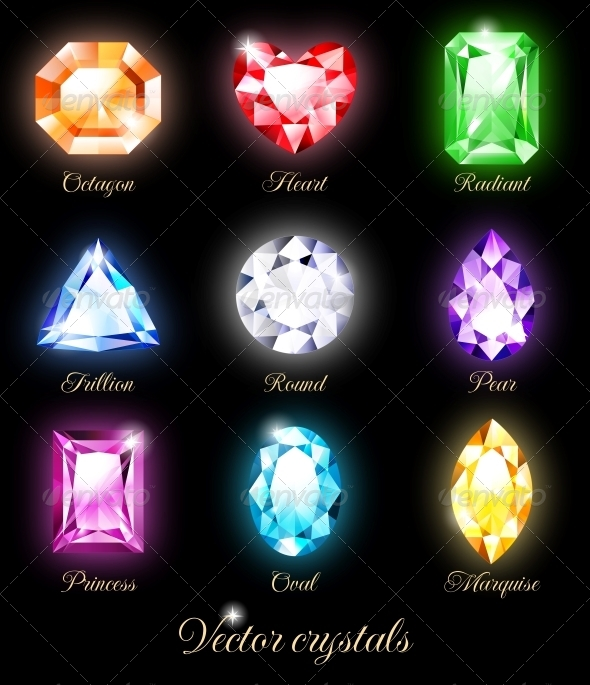 GraphicRiver Set of Colored Crystals 5450475
