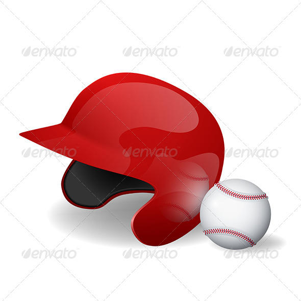 GraphicRiver Baseball Helmet and Baseball 5451391