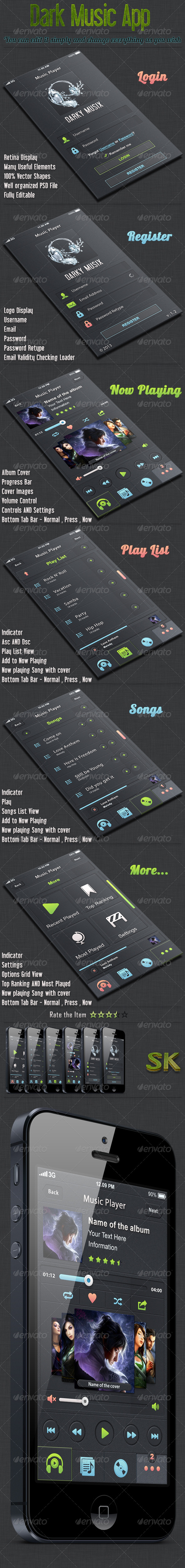 GraphicRiver Dark iOS Music App UI 5442617