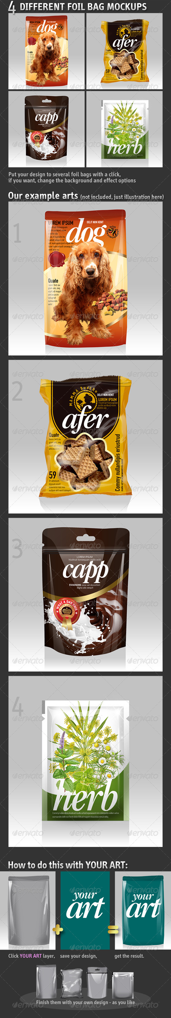 GraphicRiver 4 Different Foil Bags Packaging Mockups 5427126