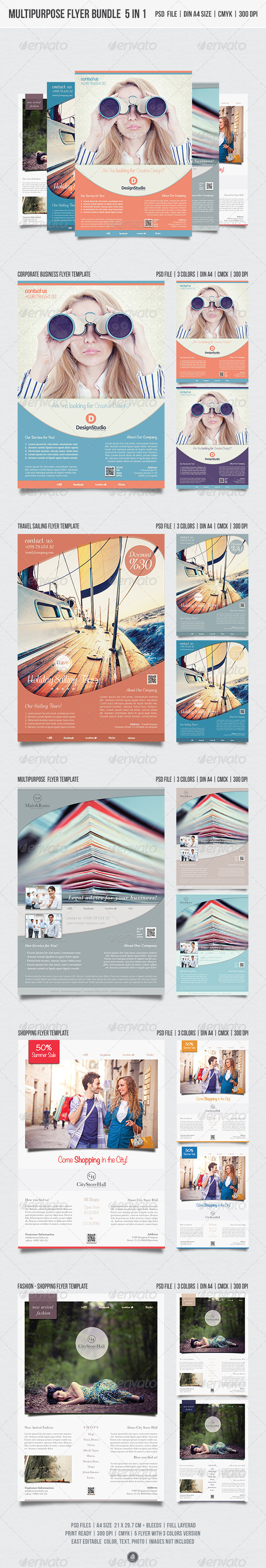 GraphicRiver Multipurpose Flyer Bundle 5-in-1 5452657
