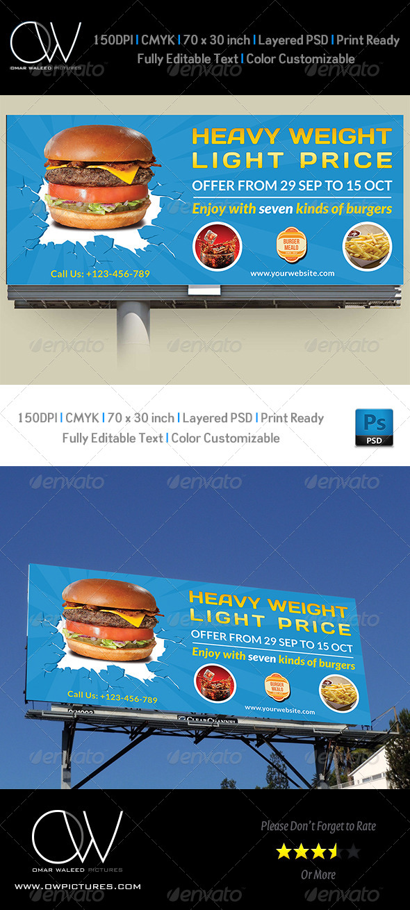 Burger Restaurant Billboard Template Vol.3 - Signage Print Templates